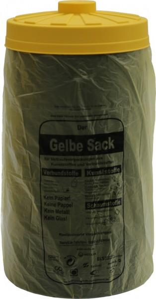 Sacktonne schwarz mit gelbem Deckel, Mülleimer, Mülltonne, Mülltrennung, Gelber Sack,Sackständer
