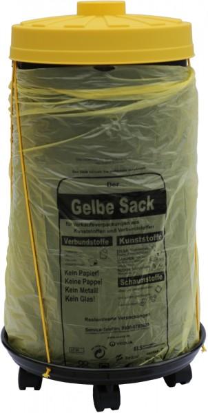 Sacktonne schwarz für Gelber Sack mit gelbem Deckel und Rollwagen mit Gummihalterung, Mülleimer