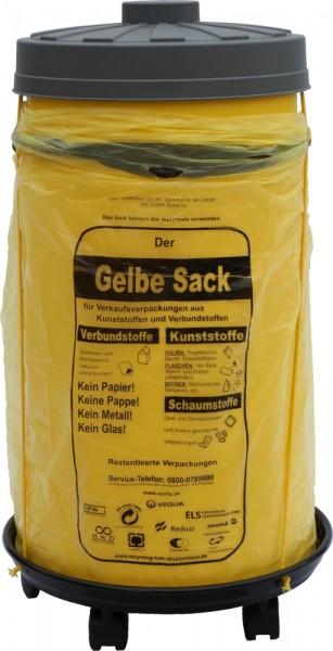 Sacktonne gelb für Gelber Sack mit grauem Deckel und Rollwagen mit Gummihalterung, Müllsackständer