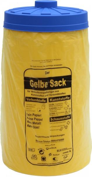 Sacktonne gelb für gelben Sack mit blauem Deckel, Mülleimer,Wertstoffbehälter, Mülltrennung