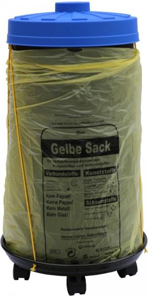 Sacktonne schwarz für Gelber Sack mit blauem Deckel und Rollwagen mit Gummihalterung, Mülleimer