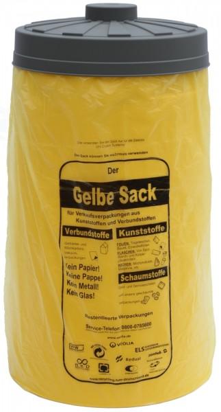 Sacktonne gelb für gelben Sack mit grauem Deckel - clevere Einfüllhilfe - Sack reißt nicht mehr