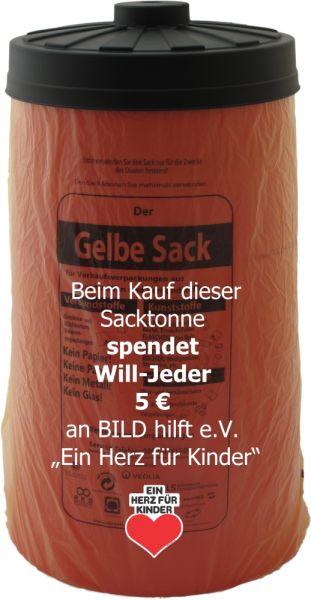 """""""Ein Herz für Kinder"""" Edition - Sacktonne rot mit schwarzem Deckel für den Gelben Sack - 5 € Spenden"""