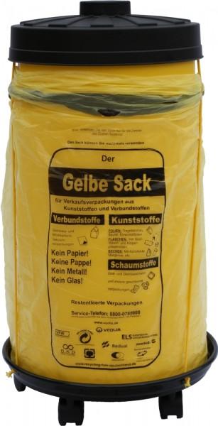Sacktonne gelb für Gelber Sack mit schwarzem Deckel und Rollwagen mit Gummihalterung, Müllsackstände