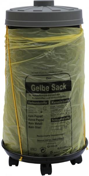 Sacktonne schwarz für Gelber Sack mit grauem Deckel und Rollwagen mit Gummihalterung, Mülleimer