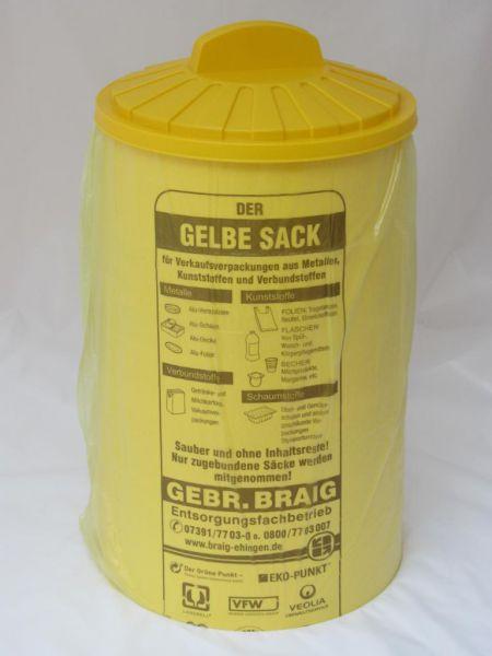 Sacktonne gelb XXL für gelben Sack mit Deckel, Mülleimer,Wertstoffbehälter, Mülltrennung,Müllständer