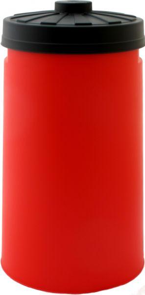 Sacktonne rot mit schwarzem Deckel für den Gelben Sack